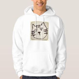 schwarze Skizze eines Katzengesichtes auf Weiß Hoodie