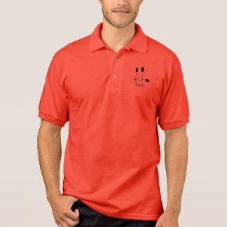 Schwarze Spachteln für einen Koch Polo Shirt
