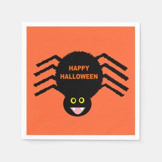 Schwarze Spinnen-Servietten Halloweens Serviette