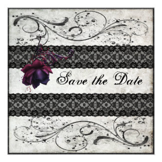 Schwarze Spitze, die Save the Date Wedding ist Einladungskarte
