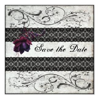 Schwarze Spitze, die Save the Date Wedding ist Quadratische 13,3 Cm Einladungskarte