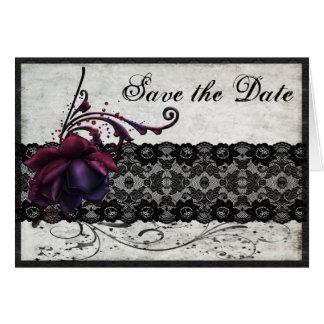 Schwarze Spitze, die Save the Date Wedding ist Karte