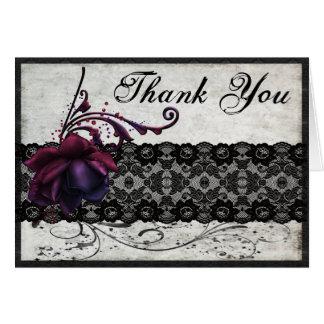 Schwarze Spitze-Hochzeit danken Ihnen Grußkarte