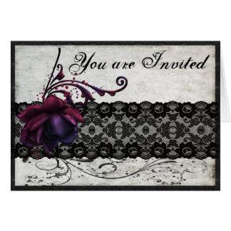 Schwarze Spitze-Hochzeits-Einladung Karte