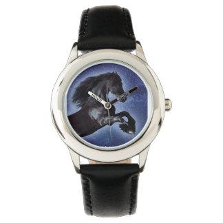 Schwarze Stallions-Uhr Handuhr
