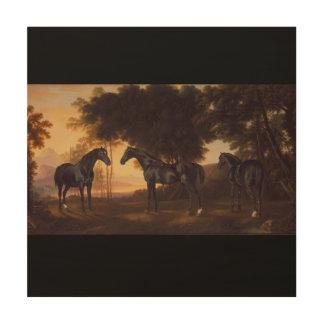 Schwarze Stallions-Vintage Malerei von George Holzdruck