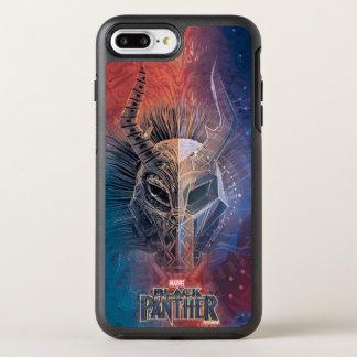 Schwarze Stammes- Maske des Panther-  bedeckte OtterBox Symmetry iPhone 8 Plus/7 Plus Hülle