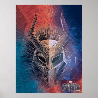 Schwarze Stammes- Maske des Panther-| bedeckte Poster