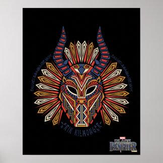Schwarze Stammes- Masken-Ikone des Panther-| Erik Poster