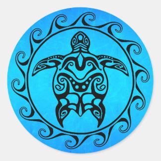 Schwarze Stammes- Schildkröte Runder Aufkleber