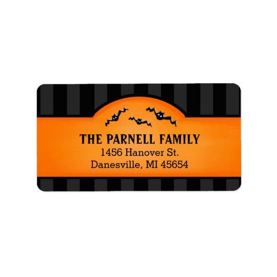 Schwarze Streifen Halloweens u. Orangen-Aufkleber Adressetikett