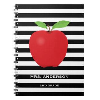 Schwarze Streifen, roter personalisierter Lehrer Notizblock