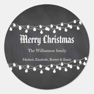 Schwarze Tafel-Feiertags-Weihnachtslichter Runder Aufkleber