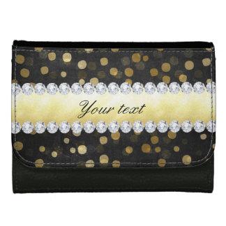 Schwarze Tafel-Goldconfetti-Diamanten