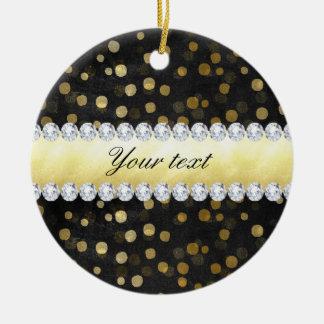 Schwarze Tafel-Goldconfetti-Diamanten Keramik Ornament