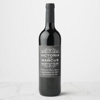 Schwarze Tafel-Hochzeits-Wein-Flaschen-Bevorzugung Weinetikett