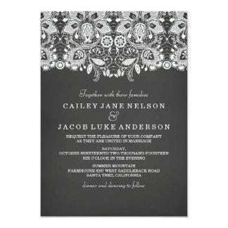 Schwarze Tafel-u. Spitze-Hochzeits-Einladung Karte