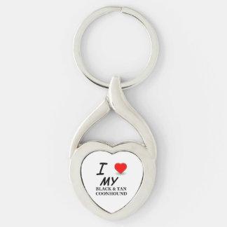schwarze tan Coonhound-Liebe Schlüsselanhänger