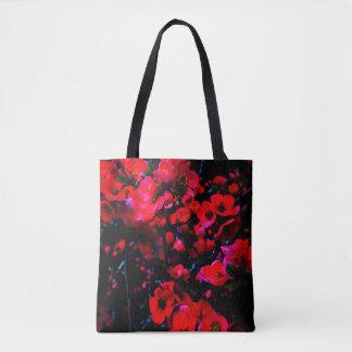 Schwarze TASCHE:  rote Blüten vorder/enorme Tasche