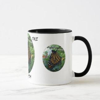 Schwarze Tasse des Wecker-11oz, Monarch-Art #1