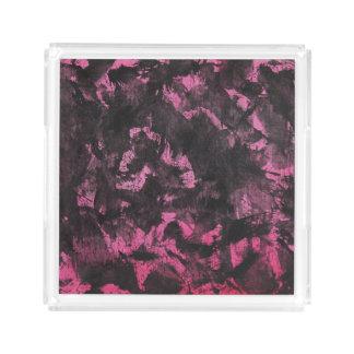 Schwarze Tinte auf rosa Hintergrund Acryl Tablett