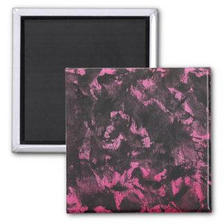 Schwarze Tinte auf rosa Hintergrund Quadratischer Magnet