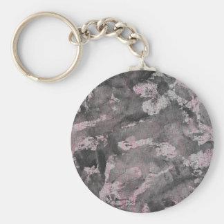 Schwarze Tinte auf rosa Leuchtmarker Schlüsselanhänger