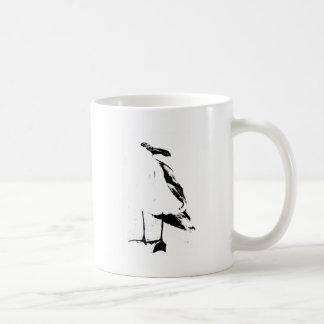 Schwarze Tinten-Konturseemöwe Kaffeetasse