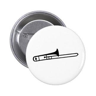 schwarze Tromboneinstrumentikone Runder Button 5,1 Cm