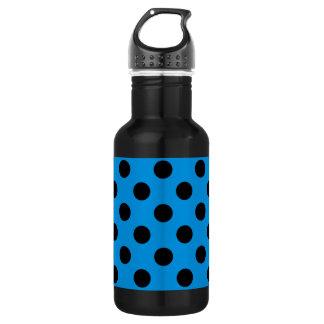 Schwarze Tupfen auf Himmelblau Edelstahlflasche