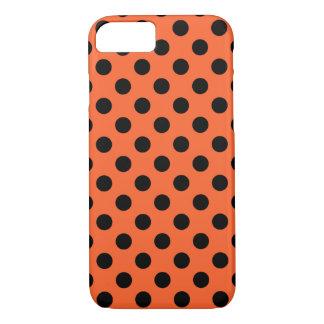 Schwarze Tupfen auf Orange iPhone 8/7 Hülle