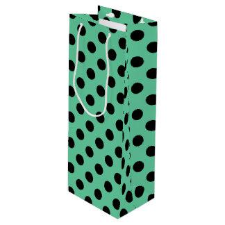 Schwarze Tupfen auf tadellosem Grün Geschenktüte Für Weinflaschen