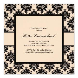 Schwarze u. Elfenbein-Damast-Einladung Quadratische 13,3 Cm Einladungskarte