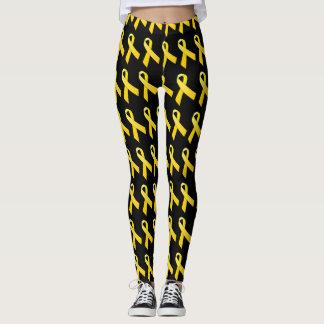 schwarze u. gelbe Bandgamaschen Leggings
