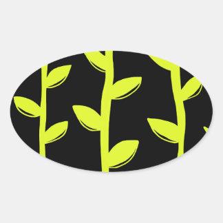 Schwarze u. grüne Reben Ovaler Aufkleber