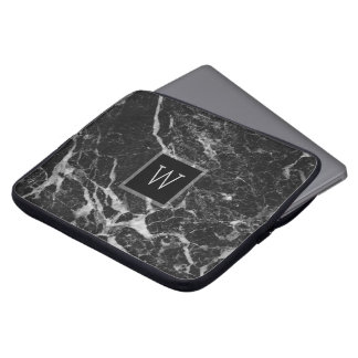 Schwarze u. hellgraue Marmorsteinbeschaffenheit Computer Sleeve Schutzhüllen