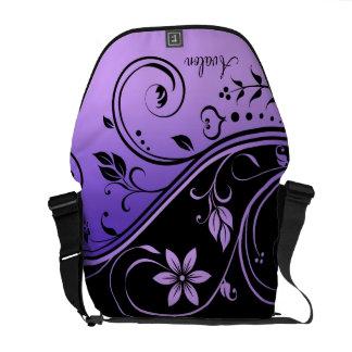 Schwarze u. lila Blumenrolle-Bote-Tasche Kurier Taschen