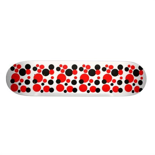 Schwarze u. rote Blasen-Punkte Personalisierte Skatedecks