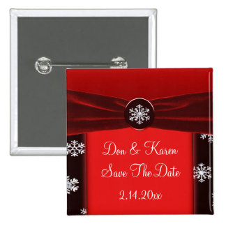 Schwarze u. rote elegante Schneeflocken Save the Quadratischer Button 5,1 Cm