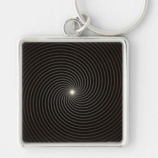 Schwarze u. weiße Abstufung des Strudel-w/Tan Schlüsselanhänger