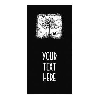 Schwarze u. weiße Baum-Schmetterlings-Silhouette Foto Karten