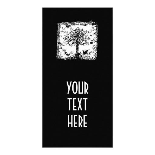 Schwarze u. weiße Baum-Schmetterlings-Silhouette Fotokartenvorlage