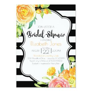 Schwarze u. weiße BlumenBrautparty-Einladung Karte