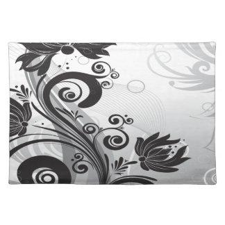 Schwarze u. weiße Blumenfinesse Tischset