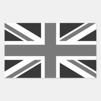 Schwarze u. weiße britische Flagge Rechrteckaufkleber