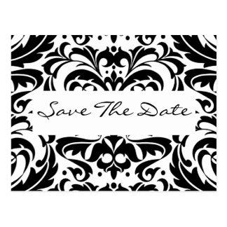 Schwarze u. weiße Damast-Rolle-Save the Date Postkarte