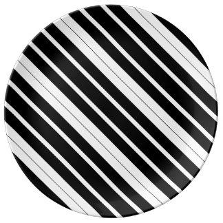 Schwarze u. weiße diagonale Streifen Porzellanteller