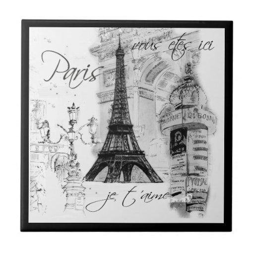 Schwarze u. weiße Eiffelturm-Straßen-Szene Paris Keramikfliese