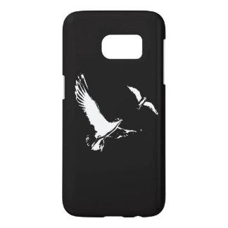 Schwarze u. weiße Fliegen-Vögel - rufen Sie Fall