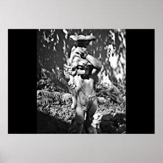 Schwarze u. weiße Garten-Statue Poster